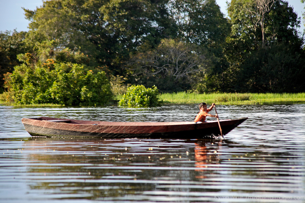 South America, Brazil, Amazon.  A small young boy rows a large boat on the Amazon.