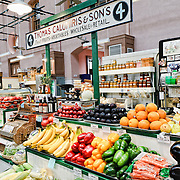 Fresh produce for sale at the newly restored Eastern Market in Washington DC on Capitol Hill. Badly damaged by an early-morning fire on April 30, 2007, the market building reopened on June 26, 2009.
