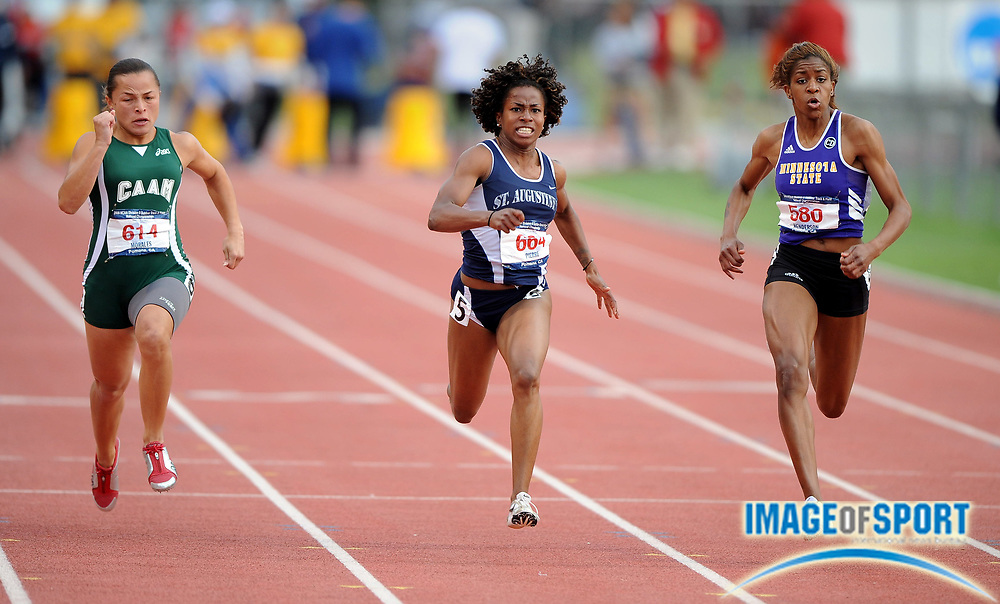 May 24, 2008; Walnut, CA, USA; From left: Celiangely Morales of PR Mayaguez (614), Barbara Pierre of Lincoln (664) and Brittany Henderson of Minnesota State Mankato (580) compete in the women's 100m in the NCAA Division II Track & Field Championships at Mt. San Antonio College's Hilmer Lodge Stadium. Pierre won in 11.47. Morales was second in 11.50 and Henderson was third in 11.51.