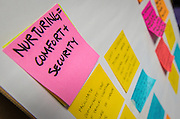 Design principals are posted on a board during a design charrette for Houston MSTC, April 24, 2015.