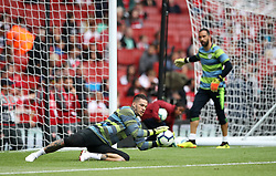 Manchester City goalkeeper Ederson before the Premier League match at the Emirates Stadium, London.