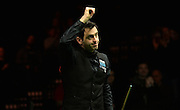 19.02.2016. Cardiff Arena, Cardiff, Wales. Bet Victor Welsh Open Snooker. Mark Selby versus Ronnie O'Sullivan. Ronnie O'Sullivan celebrates beating Mark Selby.