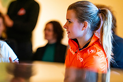 Yara van Kerkhof during the press conference for ISU World Cup Finals Shorttrack 2020 on February 12, 2020 in Museum Dordrecht.