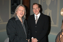 Left to right, Film writer & Director CHRISTOPHER HAMPTON and BRET EASTON ELLIS at a party hosted by Tatler magazine to celebrate the publication of Lunar park by Bret Easton Ellis held at Home House, 20 Portman Square, London W1 on 5th October 2005.<br />