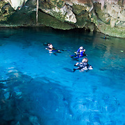 Scuba diving in Dos Ojos cenote, Yucatan, Mexico.  June 24, 2009.  (Photo/William Byrne Drumm)