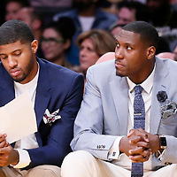 04 January 2014: Indiana Pacers forward Paul George (13) sits on the bench next to Indiana Pacers center Ian Mahinmi (28) during the Los Angeles Lakers 88-87 victory over the Indiana Pacers, at the Staples Center, Los Angeles, California, USA.