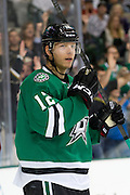 DALLAS, TX - SEPTEMBER 26:  Alex Chiasson #12 of the Dallas Stars celebrates after scoring a goal against the Colorado Avalanche in an NHL preseason game on September 26, 2013 at the American Airlines Center in Dallas, Texas.  (Photo by Cooper Neill/Getty Images) *** Local Caption *** Alex Chiasson