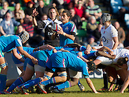 Referee Alhambra Nievas with scrum halves Sara Barattin and Bianca Blackburn, England Women v Italy Women in Women's 6 Nations Match at Twickenham Stoop, Twickenham, England, on 15th February 2015. Final score 39-7.