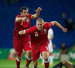 02.09.2011, Cardiff City Stadium, Cardiff, WAL, UEFA Euro 2012, Qualifier, Wales vs Montenegro, im Bild Wales' Steve Morison celebrates scoring the first goal against Montenegro during the UEFA Euro 2012 Qualifying Group G match at the  Cardiff City Stadium, EXPA Pictures © 2011, PhotoCredit: EXPA/ Propaganda/ D. Rawcliffe *** ATTENTION *** UK OUT!