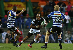 Odwa Ndungane of the Sharks attempts to get past Leolin Zas of Western Province and Scot van Breda of Western Province during the Currie Cup Premier Division match between the DHL Western Province and the Sharks held at the DHL Newlands Rugby Stadium in Cape Town, South Africa on the 3rd September  2016<br /> <br /> Photo by: Shaun Roy / RealTime Images