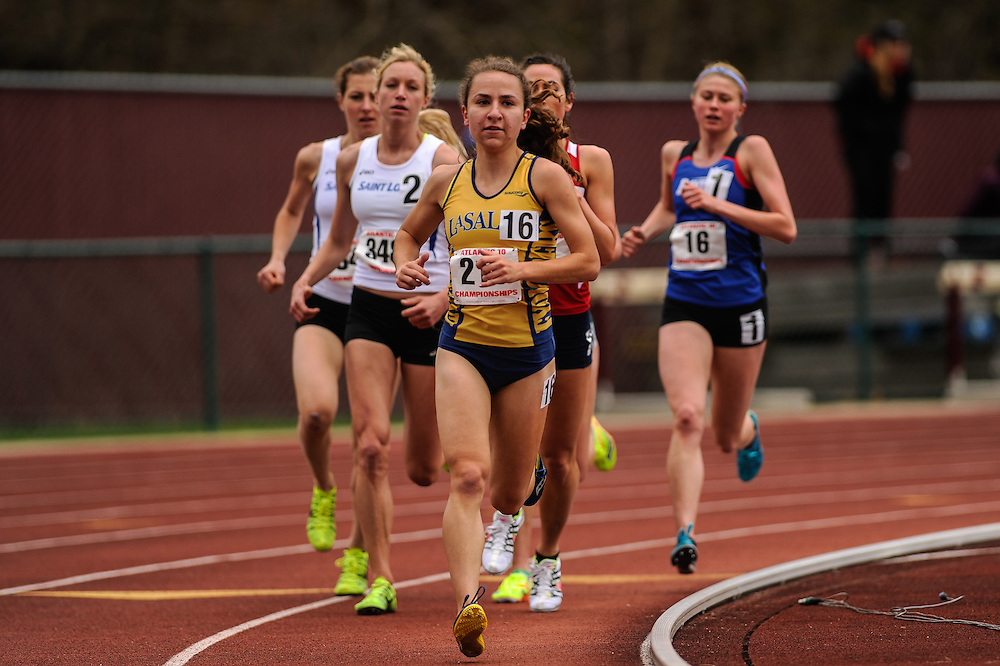 AMHERST, MA - MAY 4: Michelle Capozzi of La Salle University (213) competes in the women's 5,000 meter run during Day 2 of the Atlantic 10 Outdoor Track and Field Championships at the University of Massachusetts Amherst Track and Field Complex on May 4, 2014 in Amherst, Massachusetts. (Photo by Daniel Petty/Atlantic 10)