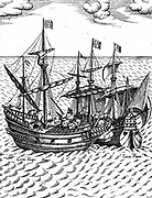 The capture of the Cacafuego, the Spanish treasure-ship, by Sir Francis Drake 1579 in the vicinity of Esmeraldas, Ecuador.  Laden with the treasure from ''Cagafuego'', Golden Hind sailed towards Plymouth, which he reached on September 26, 1580.