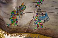 Festividad del Corpus Christi, representada en Venezuela a traves del ritual magico-religioso de los Diablos Danzantes. Los Diablos de Naiguata se identifican por pintar sus propios trajes y decorarlos con cruces, rayas y circulos, figuras que impiden que el maligno los domine. Las mascaras son en su gran mayoria animales marinos. Llevan escapularios cruzados, crucifijos y cruces de palma bendita. Naiguata, 03-06-10 (ivan gonzalez)