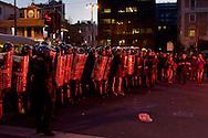 Roma 27 Febbraio 2015<br /> Manifestazione a piazzale Flaminio,vicino a Piazza del Popolo, degli  antifascisti, che protestano contro la manifestazione prevista per sabato 28 febbraio di Matteo Salvini a piazza del Popolo. La polizia in tenuta antisomossa blocca l'accesso a piazza del Popolo<br /> Rome February 27, 2015<br /> Demonstration in Piazzale Flaminio, near Piazza del Popolo, of the anti-fascists, who protest against the demonstration planned for Saturday, February 28 of Matteo Salvini to Piazza del Popolo. Police in riot gear blocking access to Piazza del Popolo