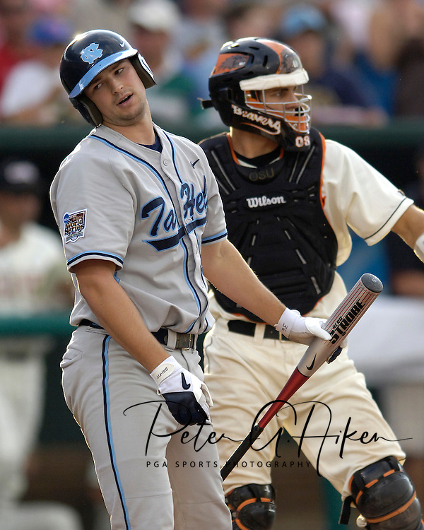 North Carolina's Matt Spencer reacts after striking out with runners in scoring postion in the fourth inning.  Oregon State defeated North Carolina 3-2 for the National Championship at the College World Series at Rosenblatt Stadium in Omaha, Nebraska, June 26, 2006.