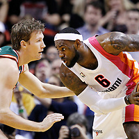 22 January 2012: Milwaukee Bucks small forward Mike Dunleavy (17) defends on Miami Heat small forward LeBron James (6) during the Milwaukee Bucks 91-82 victory over the Miami Heat at the AmericanAirlines Arena, Miami, Florida, USA.