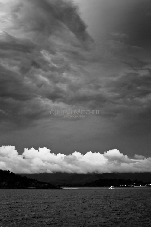 Storm clouds gather in the skies surrounding Daydream Island in the Whitsundays, Queensland.