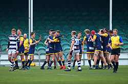 Worcester Warriors Under 18s celebrate a dramatic victory over Yorkshire Carnegie Under 18s - Mandatory by-line: Robbie Stephenson/JMP - 14/01/2018 - RUGBY - Sixways Stadium - Worcester, England - Worcester Warriors Under 18s v Yorkshire Carnegie Under 18s - Premiership Rugby U18 Academy