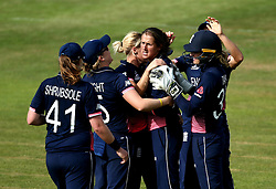 Jenny Gunn of England Women celebrates with teammates as England beat Australia in the Women's World Cup at Bristol - Mandatory by-line: Robbie Stephenson/JMP - 09/07/2017 - CRICKET - Bristol County Ground - Bristol, United Kingdom - England v Australia - ICC Women's World Cup match 19