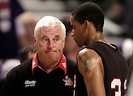WireImage -- Texas Tech head coach Bob Knight (L) gives forward Curtis Marshall (R) a look of disappointment, during a time-out in the second half against Kansas State.  Texas Tech beat K-State 79-76 at Bramlage Coliseum in Manhattan, Kansas.