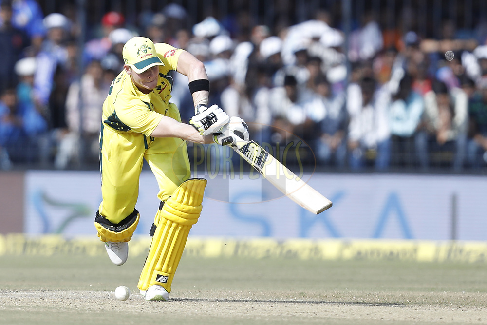 Steven Smith captain of Australia plays a shot  during the 3rd One Day International between India and Australia held at the Holkar Stadium in Indore on the 24th  September 2017<br /> <br /> Photo by Arjun Singh / BCCI / SPORTZPICS