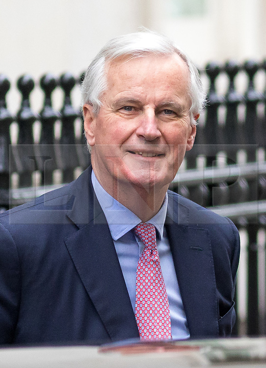 © Licensed to London News Pictures. 05/02/2018. London, UK. European Chief Negotiator for the United Kingdom Exiting the European Union Michel Barnier arrives in Downing Street for a meeting on Brexit with Secretary of State for Exiting the European Union David Davis, (not pictured). Photo credit : Tom Nicholson/LNP