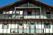 Laundry on a washing line of typical Basque house in Arizkun, Basque Country, Spain