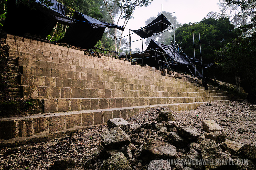 Work-in-progress restoration of the base steps of Temple 4 at the Tikal Maya ruins in northern Guatemala, now enclosed in the Tikal National Park.