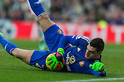 Sunderland's Goalkeeper Vito Mannone makes a save during the Barclays Premier League match between Sunderland and Manchester United at the Stadium Of Light, Sunderland, England on 13 February 2016. Photo by George Ledger.