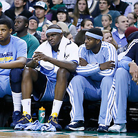 02 January 2013: Memphis Grizzlies small forward Rudy Gay (22), Memphis Grizzlies power forward Zach Randolph (50), Memphis Grizzlies center Hamed Haddadi (15) are seen on the bench during the Memphis Grizzlies 93-83 victory over the Boston Celtics at the TD Garden, Boston, Massachusetts, USA.