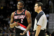 Feb. 5, 2011; Cleveland, OH, USA; Portland Trail Blazers guard Wesley Matthews (2) talks with referee Brian Forte (45) during the second quarter against the Cleveland Cavaliers at Quicken Loans Arena. Mandatory Credit: Jason Miller-US PRESSWIRE