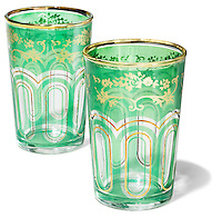 gold and green moroccan glass tea cups