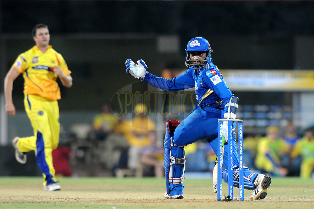 Harbhajan Singh of Mumbai Indians bats during match 3 of the NOKIA Champions League T20 ( CLT20 )between the Chennai Superkings and the Mumbai Indians held at the M. A. Chidambaram Stadium in Chennai , Tamil Nadu, India on the 24th September 2011..Photo by Pal Pillai/BCCI/SPORTZPICS