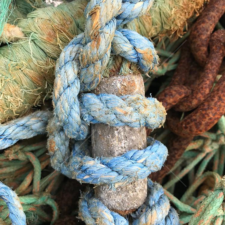 close up of rope found at a boatyard