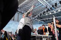 07 DEC 2018, HAMBURG/GERMANY:<br /> Annegret Kramp-Karrenbauer, CDU Generalsekretaerin und Kandidatin fuer das Amt der Parteivorsitzenden der CDU, nach Ihrer Bewerbungsrede, auf ihrem Platz in den Reihen der Delegierten aus dem Saarland, CDU Bundesparteitag, Messe Hamburg<br /> IMAGE: 20181207-01-132<br /> KEYWORDS: party congress