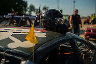A helmet is observed before the demolition derby start at the Summitt County Fairgrounds, Thursday, July 26, 2016 in Tallmadge, Ohio.