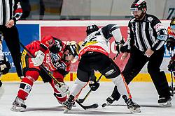 08.01.2017, Ice Rink, Znojmo, CZE, EBEL, HC Orli Znojmo vs Dornbirner Eishockey Club, 41. Runde, im Bild v.l. Peter Pucher (HC Orli Znojmo) Brock McBride (Dornbirner) // during the Erste Bank Icehockey League 41th round match between HC Orli Znojmo and Dornbirner Eishockey Club at the Ice Rink in Znojmo, Czech Republic on 2017/01/08. EXPA Pictures © 2017, PhotoCredit: EXPA/ Rostislav Pfeffer