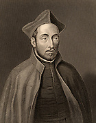 Ignatius Loyola, born Inigo Lopez de Recalde (1491-1556) Spanish soldier and, with St Francis Xavier (1506-1552) in 1534, one of the founders of the Society of Jesus, the Jesuits.  Engraving from 'The Illustrated Globe Encyclopaedia of Universal Knowledge' Vol. V (London, 1882).