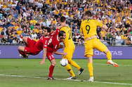 SYDNEY, AUSTRALIA - NOVEMBER 20: Australian forward Tomi Juric (9) just misses a chance at the international soccer match between Australia and Lebanon at ANZ Stadium in NSW, Australia. on November 20, 2018. (Photo by Speed Media/Icon Sportswire)
