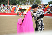BEA AHBECK/NEWS-SENTINEL<br /> Brega Davide Antunes practices before the bloodless bullfight during the Our Lady of Fatima Portuguese Festival in Thornton Saturday, Oct. 15, 2016.