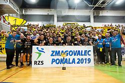 RK Gorenje Velenje with fans after winning Slovenian cup 2019,  handball match between RK Gorenje Velenje and MRK Krka in Final of Slovenian Men Handball Cup 2018/19, on Maj 12, 2019 in Novo Mesto, Slovenia. Photo by Grega Valancic / Sportida