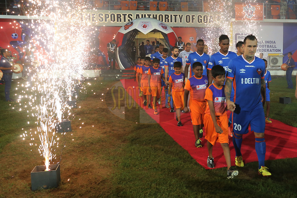 during match 8 of the Indian Super League (ISL) season 3 between FC Goa and FC Pune City held at the Fatorda Stadium in Goa, India on the 8th October 2016.<br /> <br /> Photo by Faheem Hussain / ISL/ SPORTZPICS
