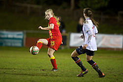 NEWTOWN, WALES - Friday, February 1, 2013: Wales' Mali Summers in action against Norway during the Women's Under-19 International Friendly match at Latham Park. (Pic by David Rawcliffe/Propaganda)
