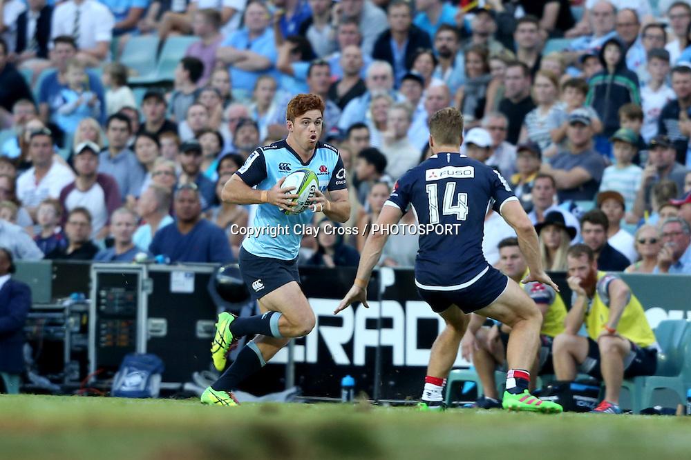Andrew Kellaway on debut. Waratahs v Rebels, Super Rugby Round 6. Played at Allianz Stadium, Sydney Australia on Sunday 3 April 2016. Copyright Photo: Clay Cross / photosport.nz