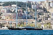 Maltese Falcon at anchor off the Italian coast at Naples.