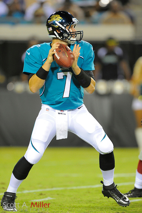 Jacksonville Jaguars quarterback Chad Henne (7) looks to pass during his team's NFL preseason game against the New York Giants at EverBank Field on August 10, 2012 in Jacksonville, Florida. The Jags won the game 32-31...©2012 Scott A. Miller..