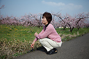 Kunimi, April 27 2011 - Reiko Sato, 67, lived in Odaka, 15km from the Fukushima nuclear power plant. <br /> &quot;We are old. But for the youngest, that's terrible. Everything has disappeared. I have a 2 year-old grand-son. I am scared for him because of the radiations. <br /> I have no image for the future. When I sleep at night, I dream of the spring. But when I wake up, I can not see it arrived already. Even those trees, we don't know if we will eat their peaches.&quot;