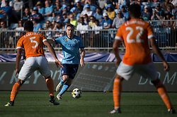 September 23, 2017 - East Hartford, Connecticut, U.S - New York City FC midfielder THOMAS MCNAMARA (15) brings the ball upfield while defended by Houston Dynamo midfielder JUAN CABEZAS (5) and Houston Dynamo defender LEONARDO (22) during a game at Pratt & Whitney Stadium at Rentschler Field, East Hartford, CT.  New York City FC draw with the Houston Dynamo 1 to 1 (Credit Image: © Mark Smith via ZUMA Wire)