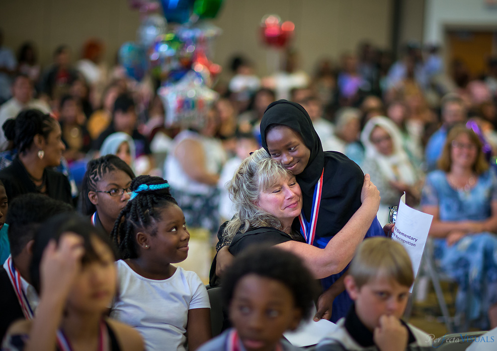 Last day of school Union Hill Elementary <br /> <br /> Saadiya Omar is congratulated by her teacher Mrs. Yahya.<br /> <br /> Photographed, Tuesday, June 12, 2018, in Greensboro, N.C. JERRY WOLFORD and SCOTT MUTHERSBAUGH / Perfecta Visuals