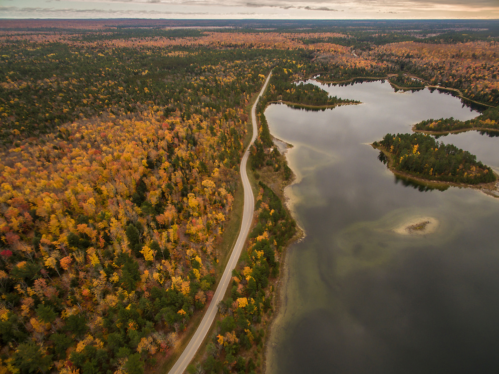 Aerial shot of Kingston Lakes during fall on Michigan's Upper Peninsula.